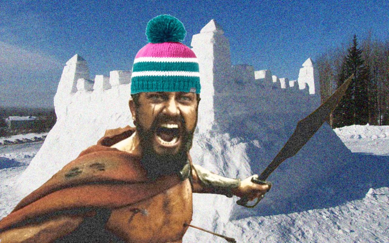зима, активный отдых, снежная крепость, снежки